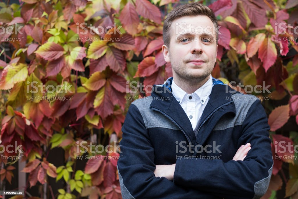 Outdoors portrait of middle age caucasian man at the spring or autumn day zbiór zdjęć royalty-free