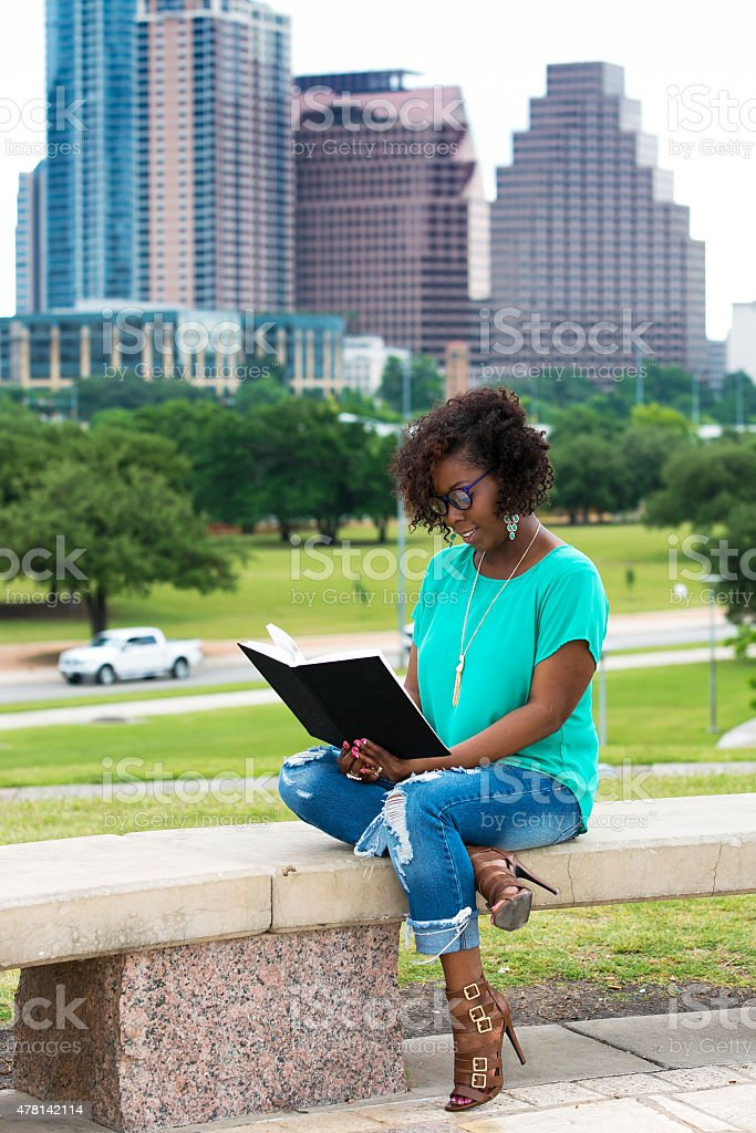 Outdoors reading stock photo