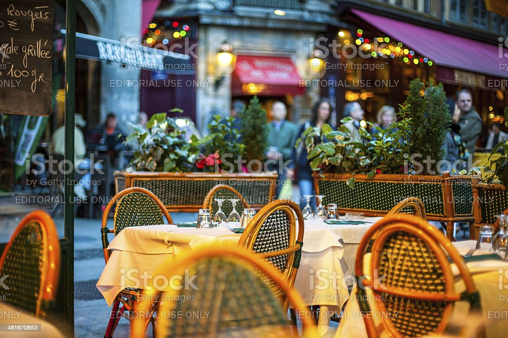Outdoors Restaurant in Lyon, France stock photo