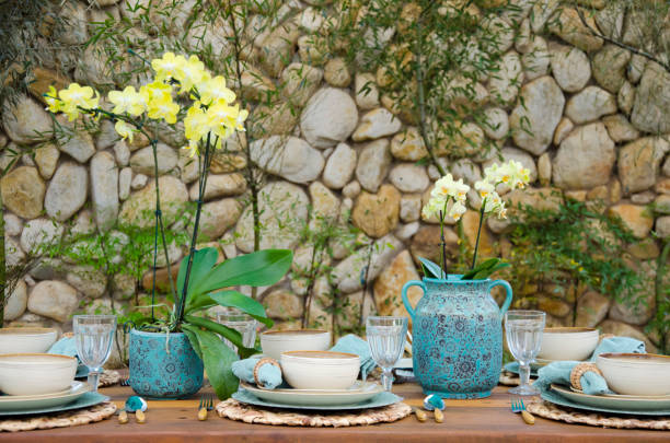 Outdoors table setting stock photo