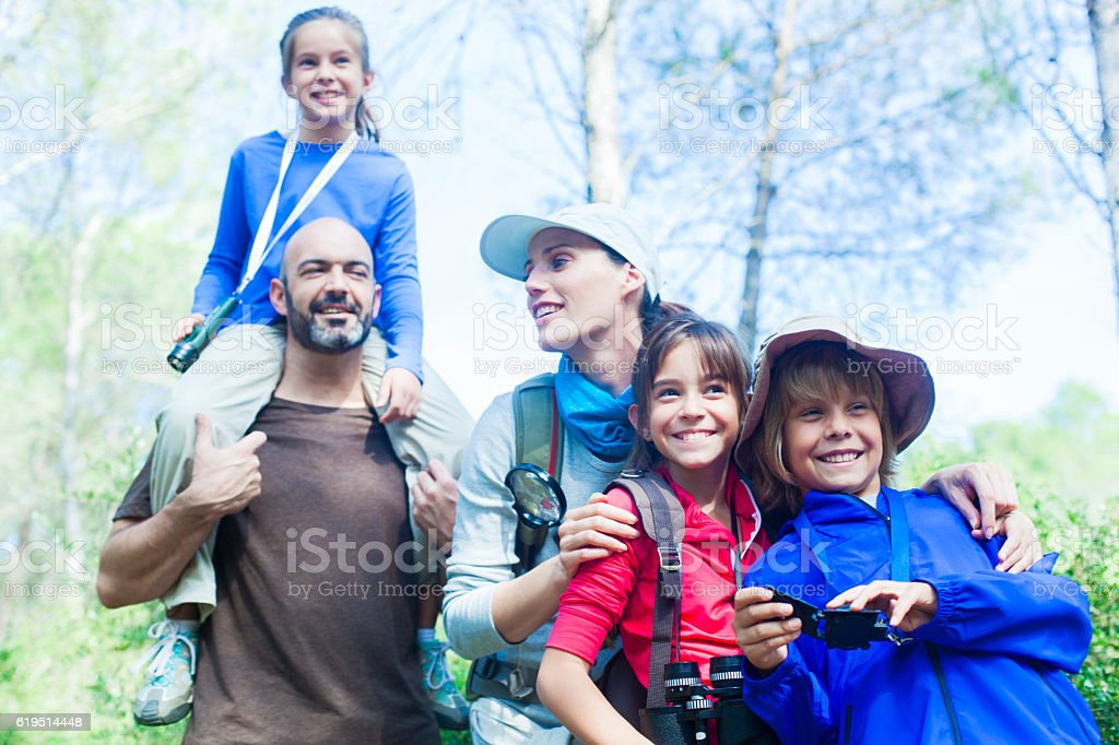 Outdoors vacations family on a trip. stock photo