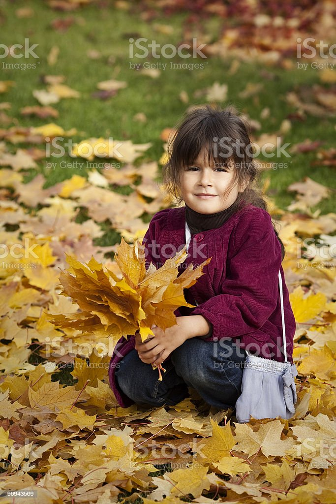 Outdoors vertical portrait of a little girl royalty-free stock photo