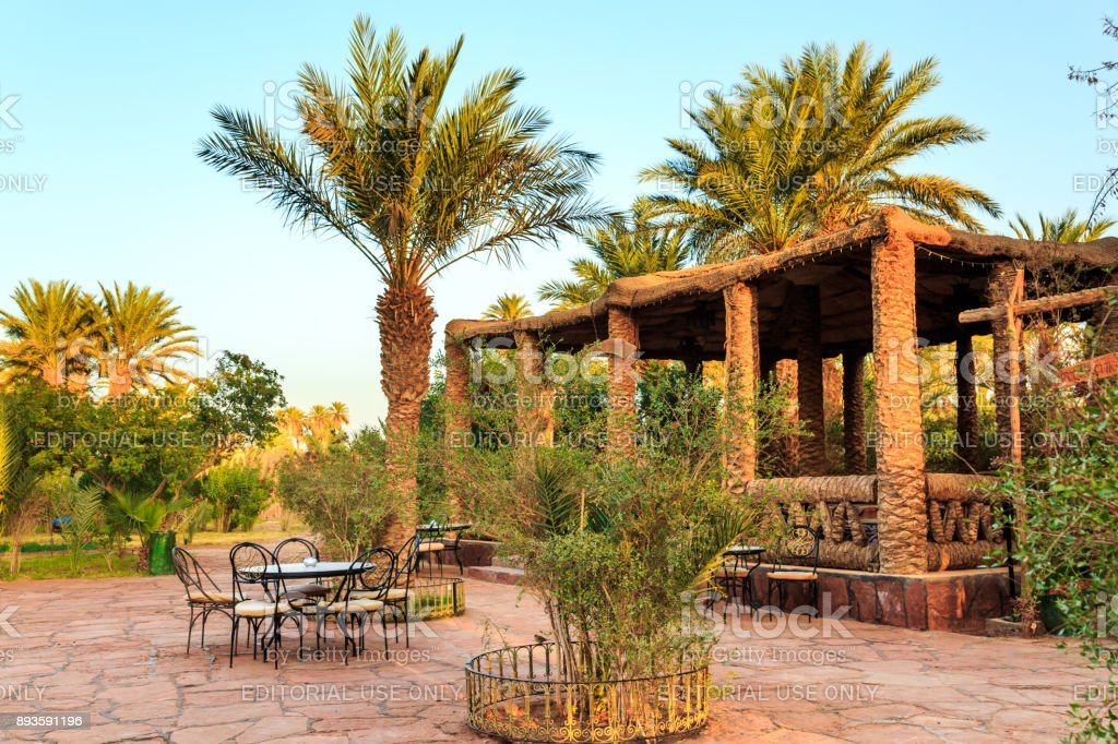 Outdoors view of arabic patio near luxurius hotel in Morocco stock photo
