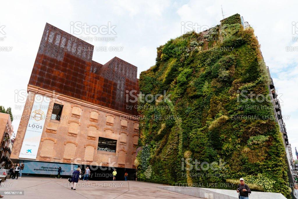Outdoors view of CaixaForum Madrid stock photo