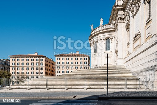 Rome, Italy - August 21, 2016: Outdoors view of the Papal Basilica of Saint Mary Major also known as Santa Maria Maggiore. It is one of Rome's four  major basilicas.