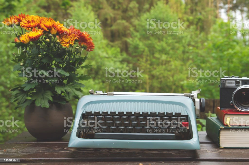 outdoors vintage desk stock photo