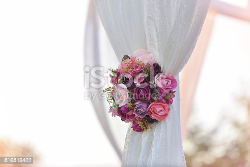 Outdoors wedding decoration with  bouquets