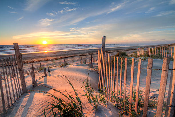 outer banks beach at sunrise from the sand dunes - sand dune stock photos and pictures
