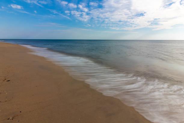 Outer Banks Coastline, Bright Blue Sky With Light Ocean Waves, North Carolina stock photo