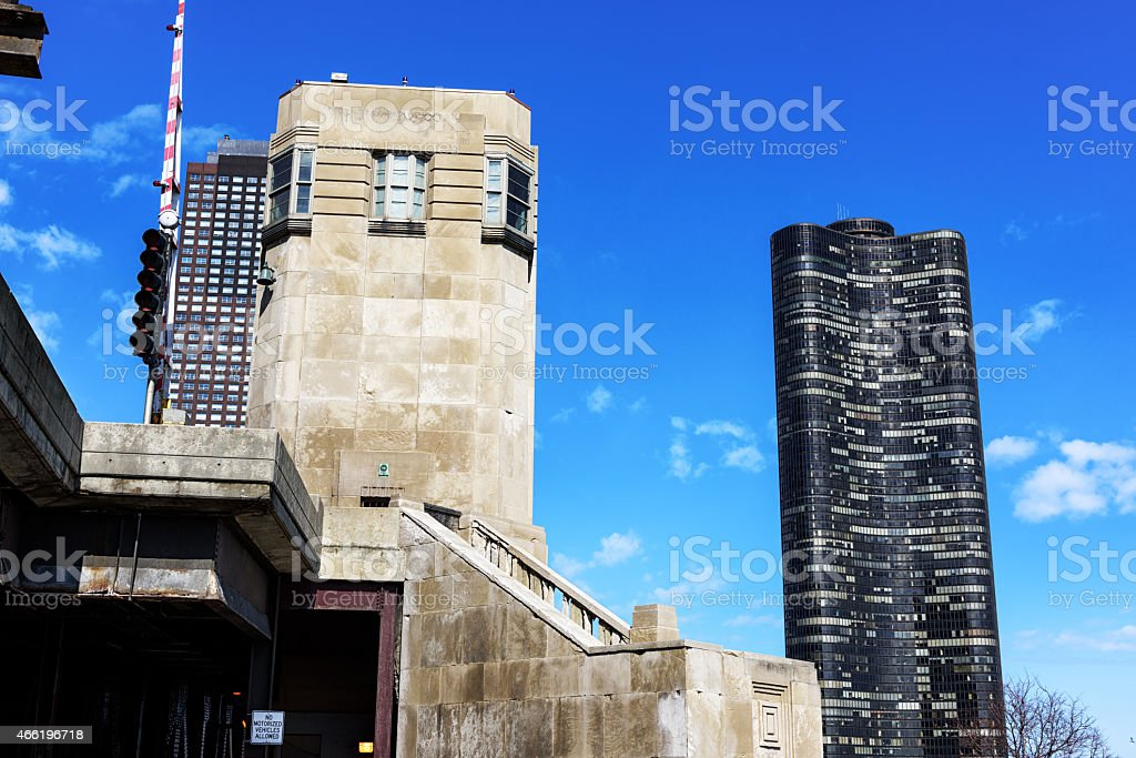 Outer Drive Bridge House and Lake Point Tower, Chicago stock photo