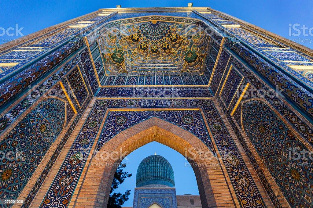 Outer gate of the Mausoleum of Tamerlane the conqueror, in Samarkand, Uzbekistan. stock photo