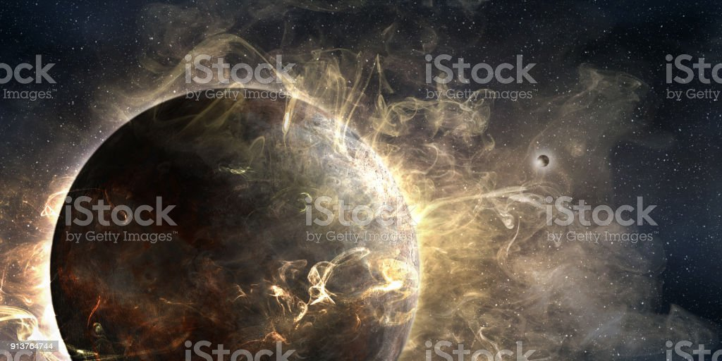 outer planet wrapped in a cosmic cloud stock photo