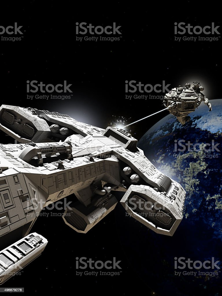 Outer Space Battle stock photo