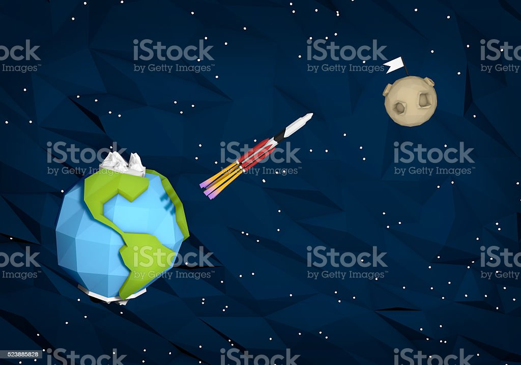 Outer space in geometric style, flight to the moon. stock photo