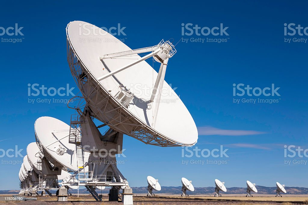 VLA outer space radio telescope array stock photo