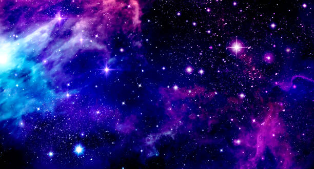 outer space, universe, nebula, stars, star cluster, blue, purple, pink, bright, astronomy, science - space foto e immagini stock