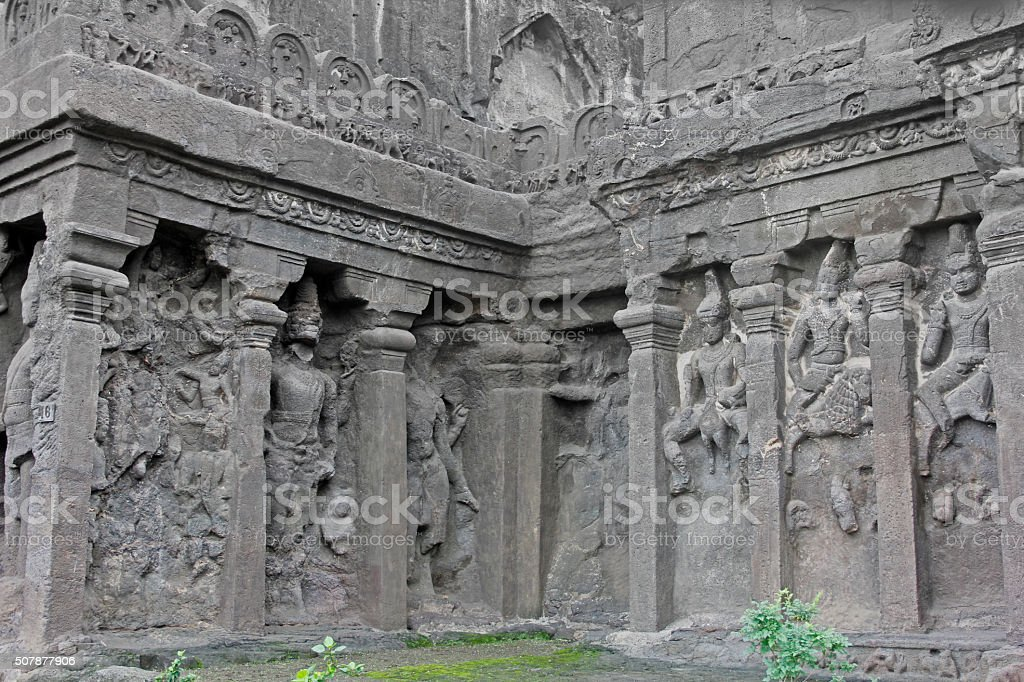 Outer wall detail with Karttikeya, Agni and Vayu, Cave stock photo