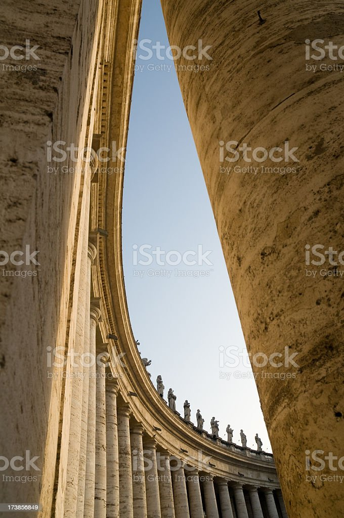 Outer wings of St. Peters Rome stock photo