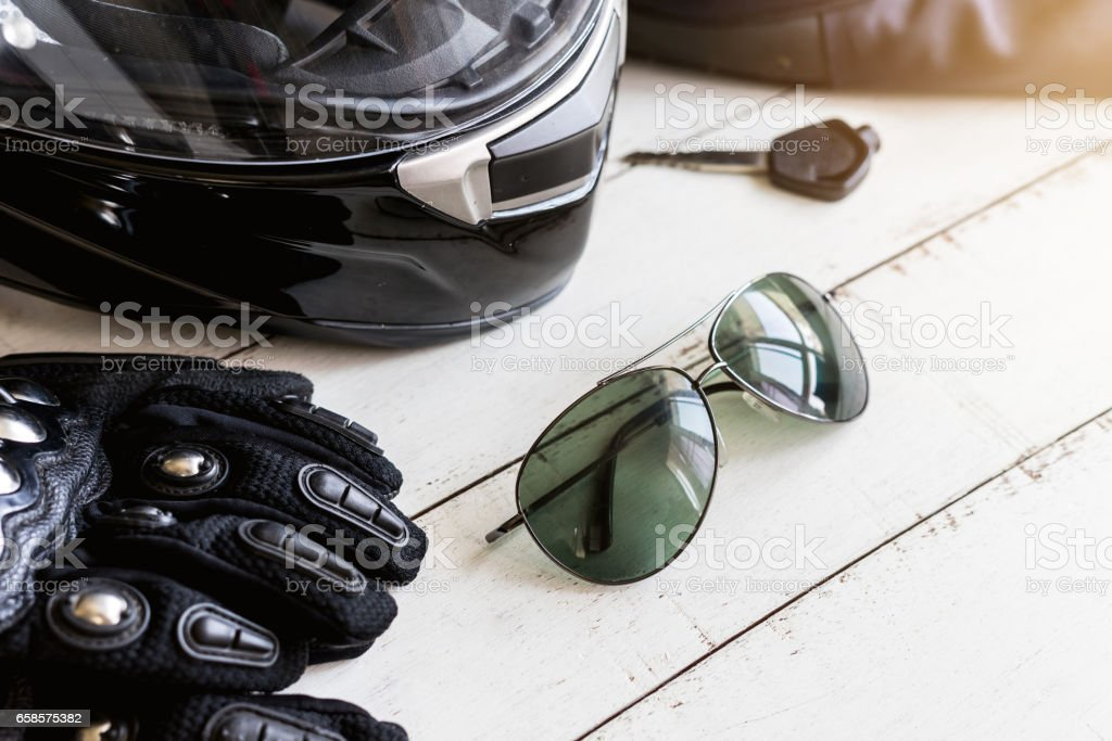 Outfit of Biker and accessories with copy space – Foto