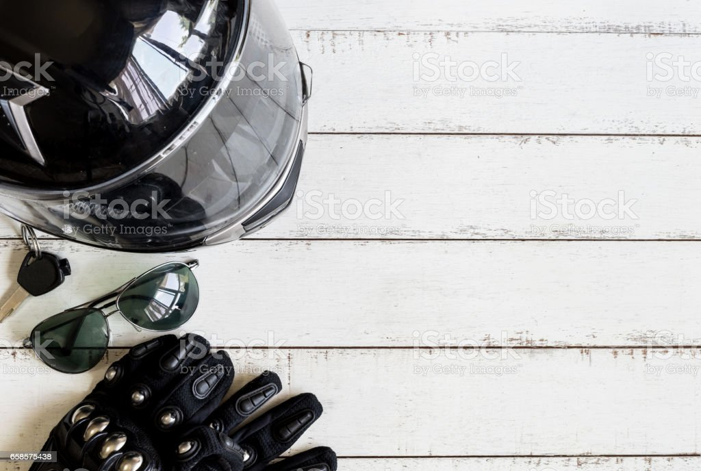 Outfit of Biker and accessories with copy space stock photo