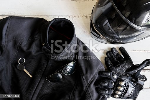 istock Outfit of Biker and accessories with copy space 677022004