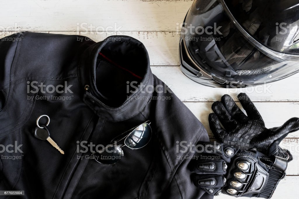 Outfit of Biker and accessories with copy space​​​ foto