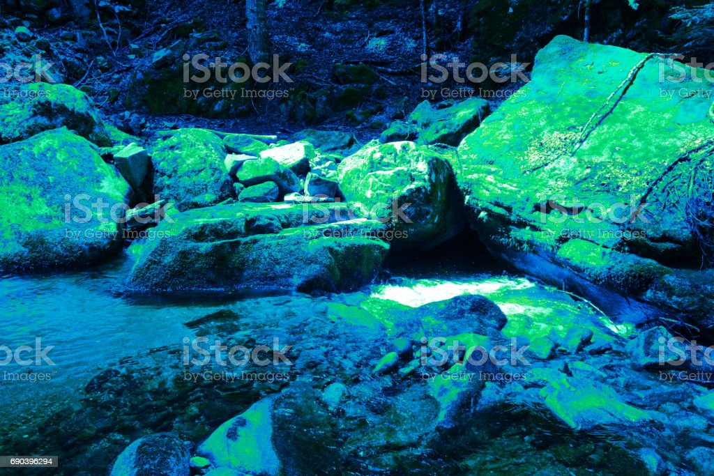 Outflow of chlorophyll algae in the primary era stock photo