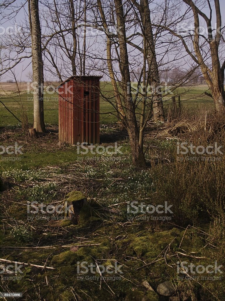 Outhouse and snow drops royalty-free stock photo