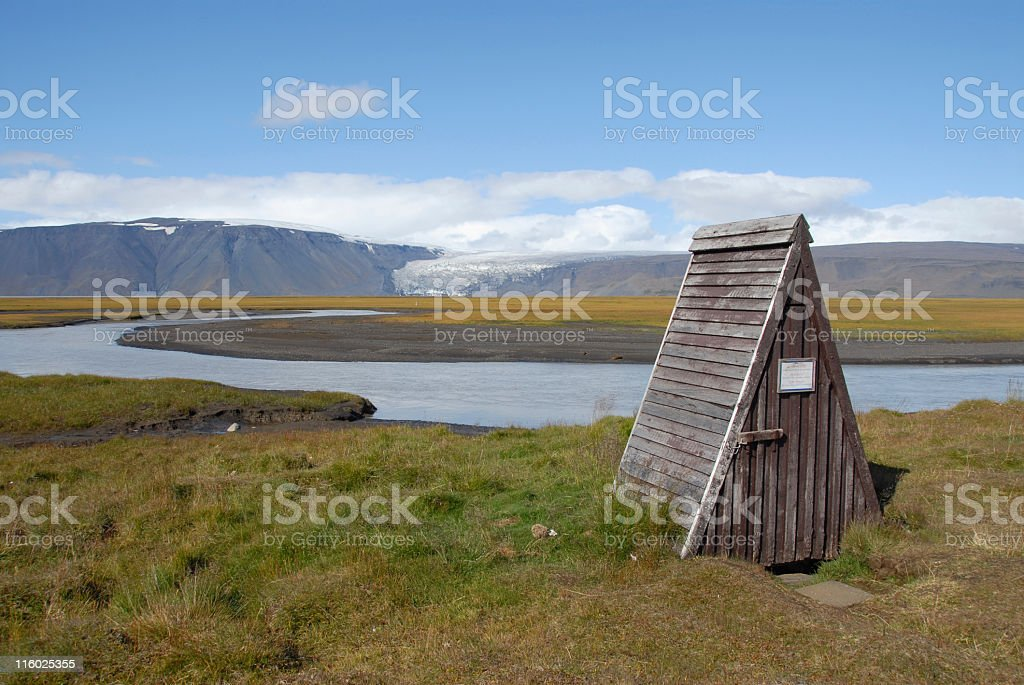 Outhouse in Iceland stock photo