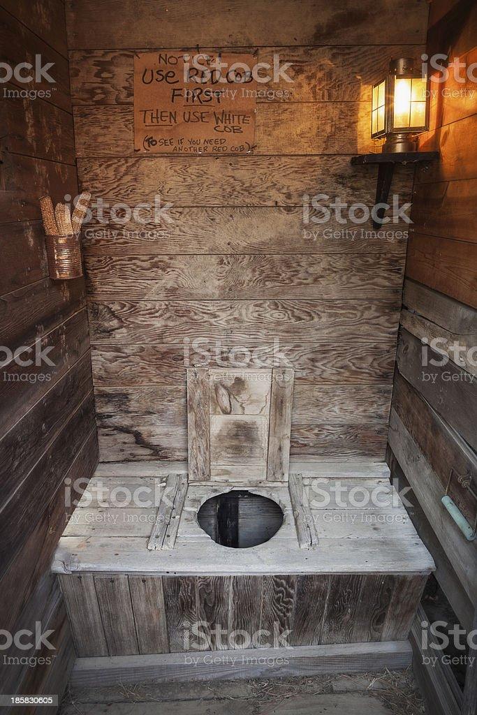 Outhouse Interior stock photo