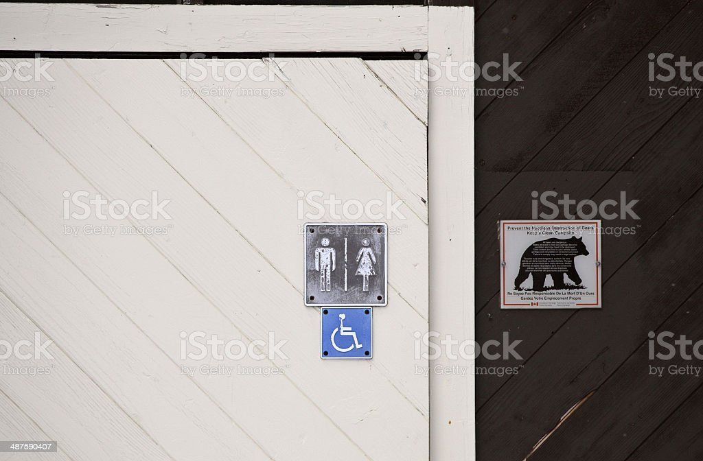 Outhouse sign at Waskesui Lake stock photo