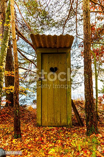 An old toilet house in autumn forest