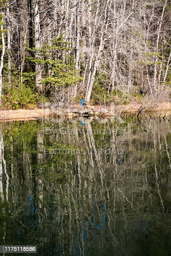 Hendersonville, NC, USA.  February 10, 2019.  A person in a blue coat takes a break from walking to take in the beauty of the lake scenery and reflections.