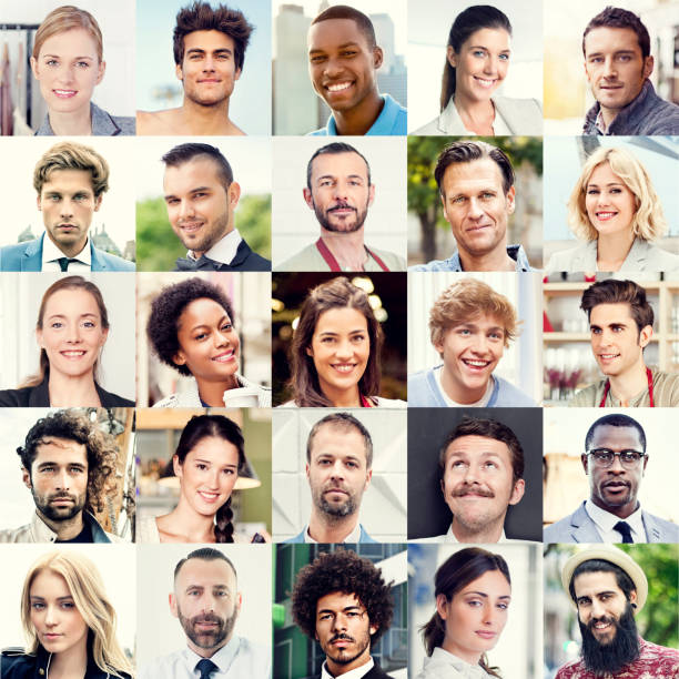 outlay of 25 multiracial faces - grid pattern stock photos and pictures