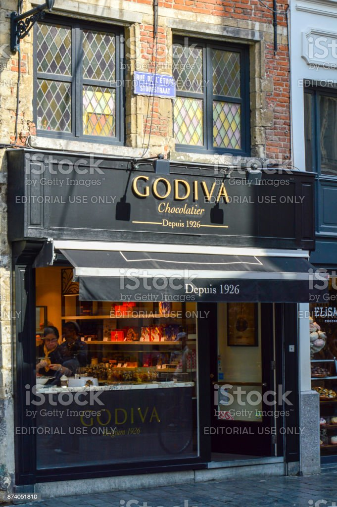 Outlet of Godiva, a manufacturer of premium fine Belgian chocolates, truffles, and holiday gifts, at Manneken Pis branch in Brussels, Belgium stock photo