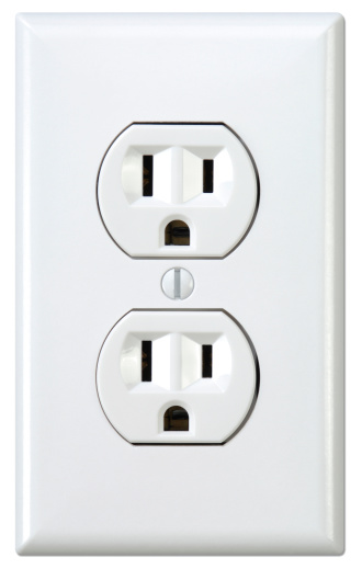 White Electrical Outlet and Wall Plate with Clipping Path Included.