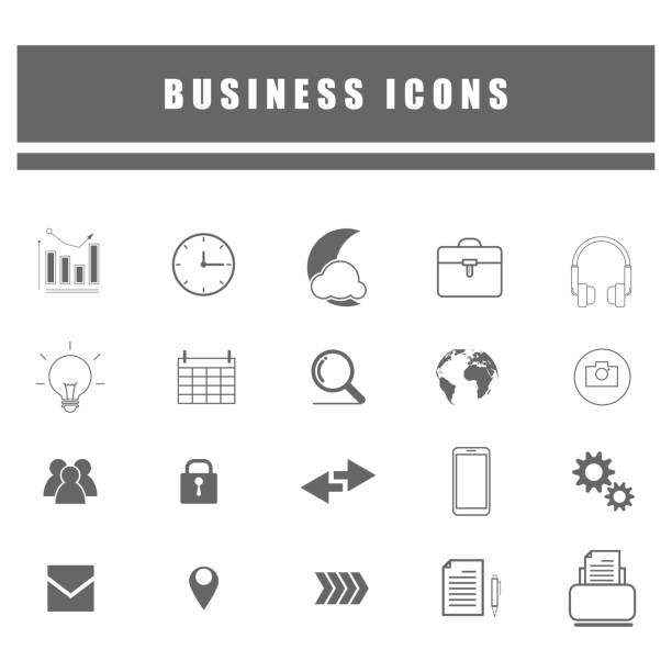 outline icons of business and social online network - icone foto e immagini stock