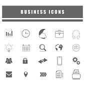 outline icons of business and social online network