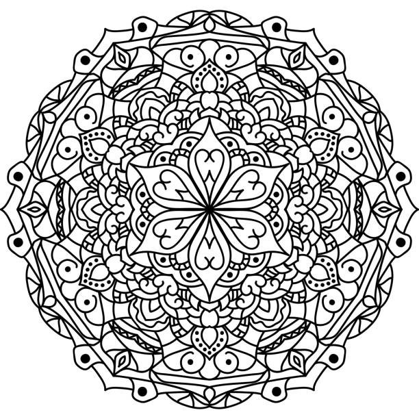 outline mandala for coloring book - colouring book stock photos and pictures