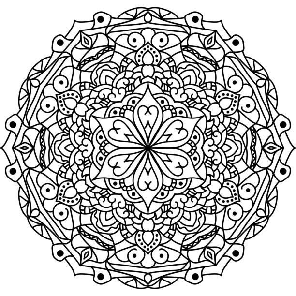 umriss-mandala für malbuch - tatto vorlagen stock-fotos und bilder