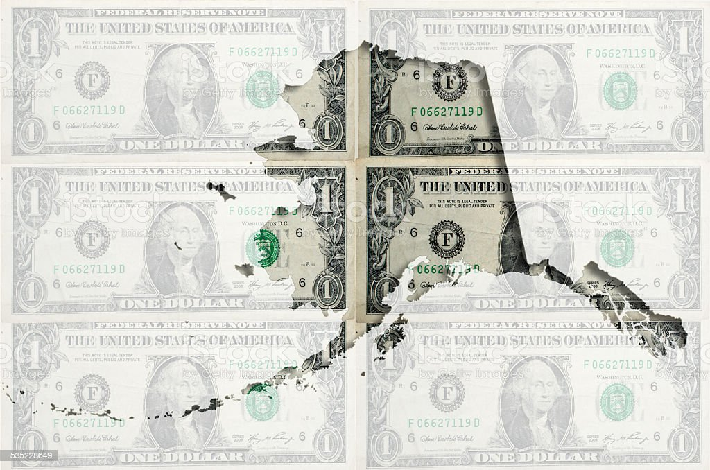 Outline Map Of Alaska With Transparent American Dollar Bankotes