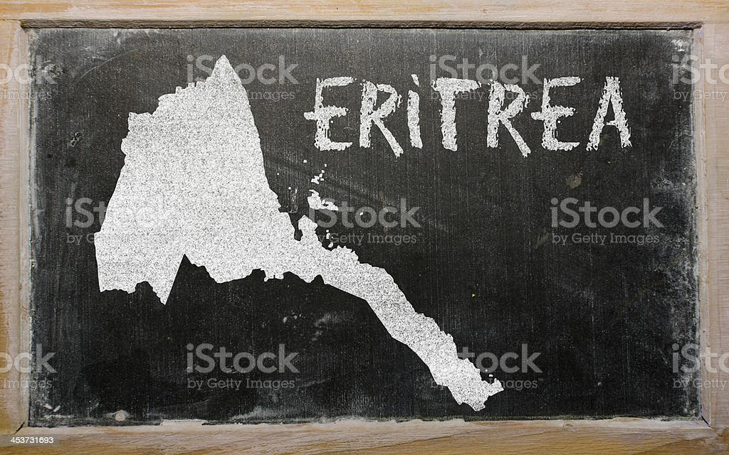 outline map of eritrea on blackboard stock photo