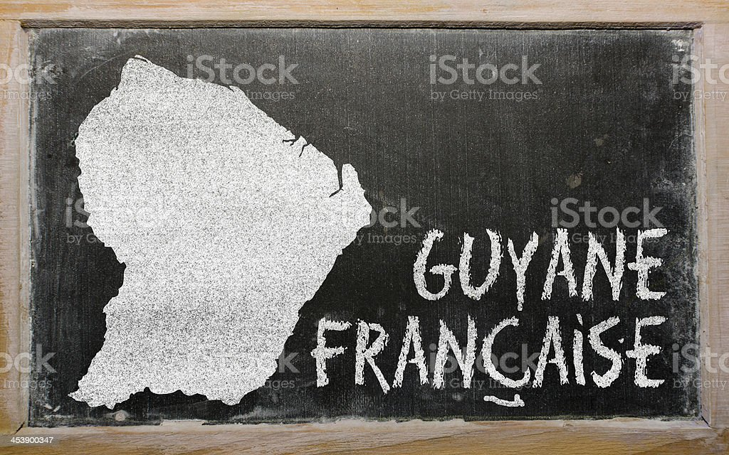 Carte de contour de Guyane française sur Tableau noir - Photo
