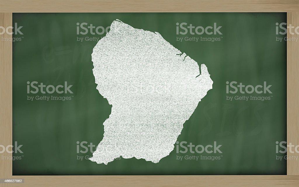 Carte de contour de la Guyane française sur Tableau noir - Photo