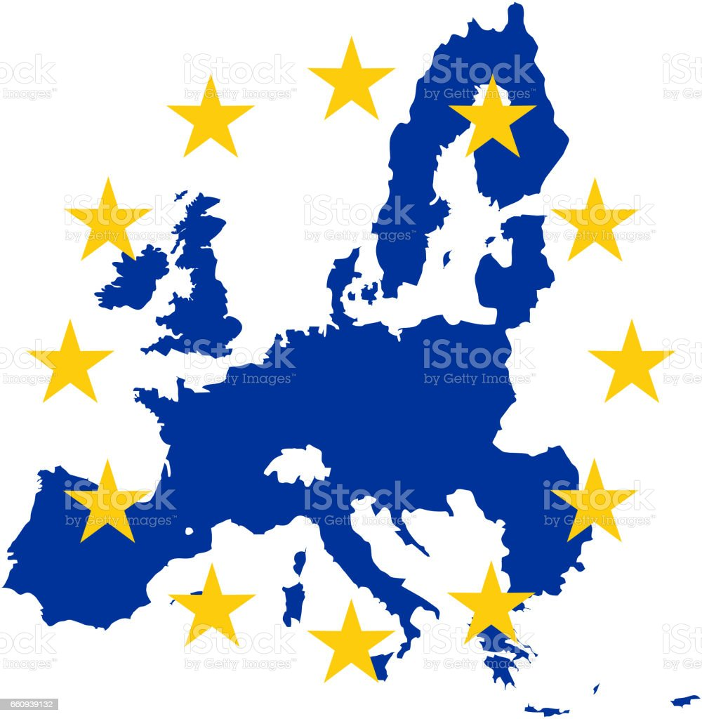 Outline map of the European Union with EU flag stars stock photo