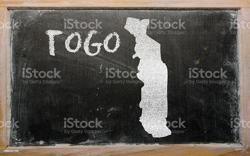 outline map of togo on blackboard stock photo