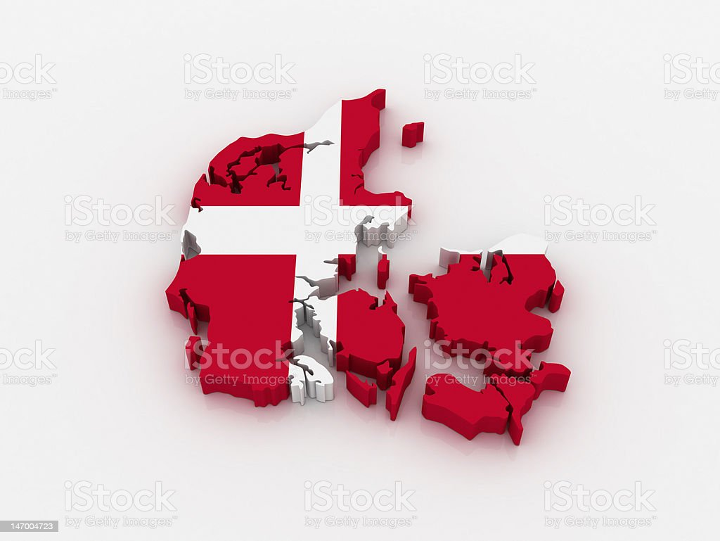 3D outline of map of Denmark, superimposed with Danish flag  royalty-free stock photo