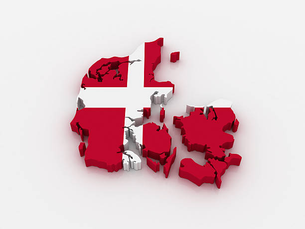 3D outline of map of Denmark, superimposed with Danish flag  stock photo