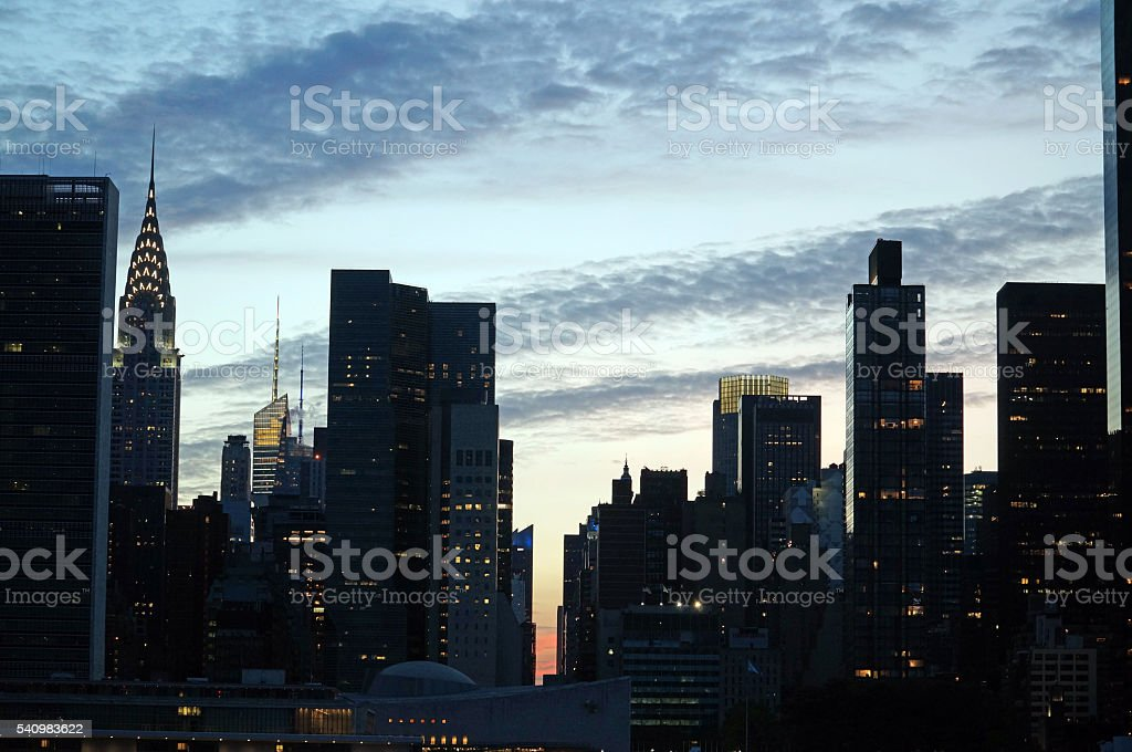 Outline of skyscrapers stock photo