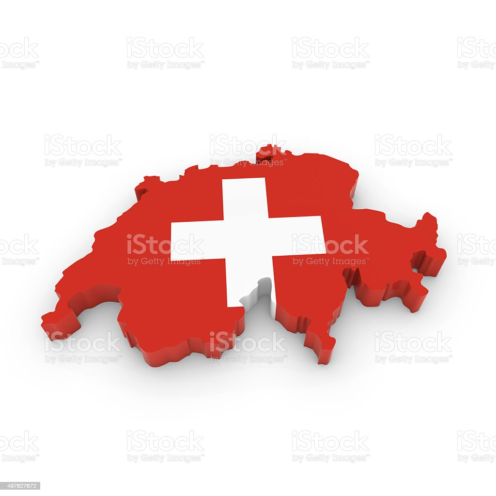 3D Outline of Switzerland textured with the Swiss Flag stock photo
